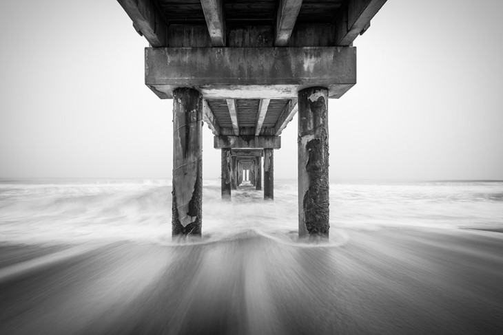 Ocean Dream - Black and white Florida fishing pier photo